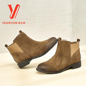 意尔康女靴2017冬季新款圆头反绒短筒保暖套脚切尔西靴矮跟短筒靴