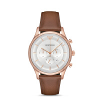 阿玛尼(Emporio Armani)手表 皮质表带男士经典时尚休闲石英腕表 AR11043