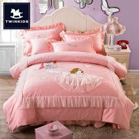 儿童四件套纯棉女孩全棉1.5米床1.8m双人粉色1.2米床三件套公主风