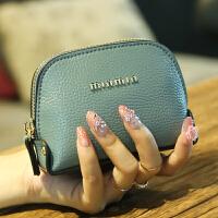 零钱包女2018韩版时尚迷你贝壳手拿小钱包钥匙包硬币包女 橡皮粉 小号带手腕带