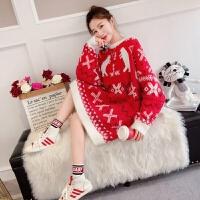 红色毛衣女冬套头2018新款宽松中长款慵懒风百搭圣诞针织衫糖果色 均码