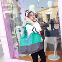 韩版潮水洗布单肩包女大18新款休闲旅行牛津包帆布手提妈妈包