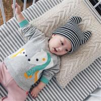 婴儿秋装男女宝宝衣服纯棉上衣外出百搭T恤 北极熊印花长袖潮