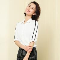 【限时抢购】2019春夏中袖女士衬衫职业装OL通勤套装工作服销售百搭