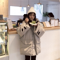 冬季新款韩版学院风加厚款面包服宽松口袋保暖连帽棉衣外套女
