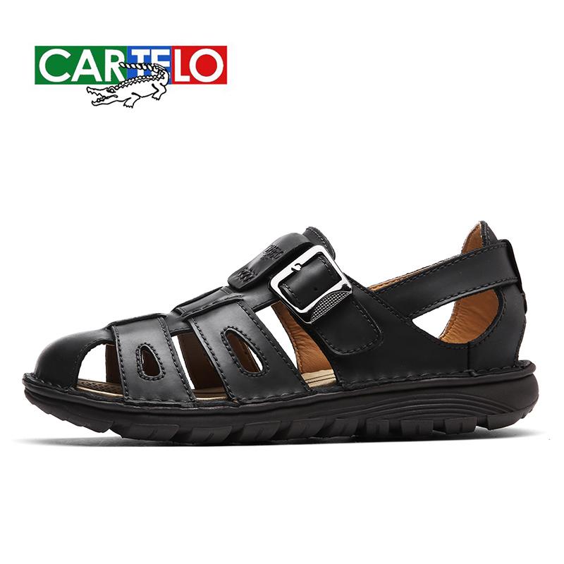 卡帝乐鳄鱼 CARTELO2018新款凉鞋 男士休闲沙滩鞋 头层牛皮凉鞋时尚百搭,全国包邮,品质保障!