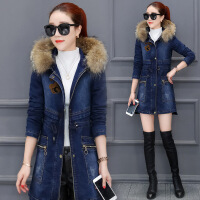 牛仔外套女冬装2018新款中长款韩版冬天连帽百搭加绒加厚冬季棉衣 蓝色