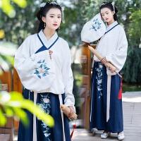 秋冬新款中国风传统汉服女日常清晰淡雅绣花双层加厚交领袄裙套装 上衣+襦裙