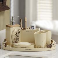 美式仿古卫浴五件套浴室洗漱杯套装带托盘刷牙用品漱口杯洗漱套装