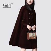 【新年狂欢到手价:728.6】魅斑潮流时尚斗篷羊毛呢外套2019冬季新款洋气双排扣女士呢子大衣