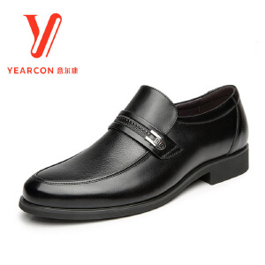 意尔康男鞋2017正品真皮商务正装男士套脚圆头中青年工作低帮皮鞋子