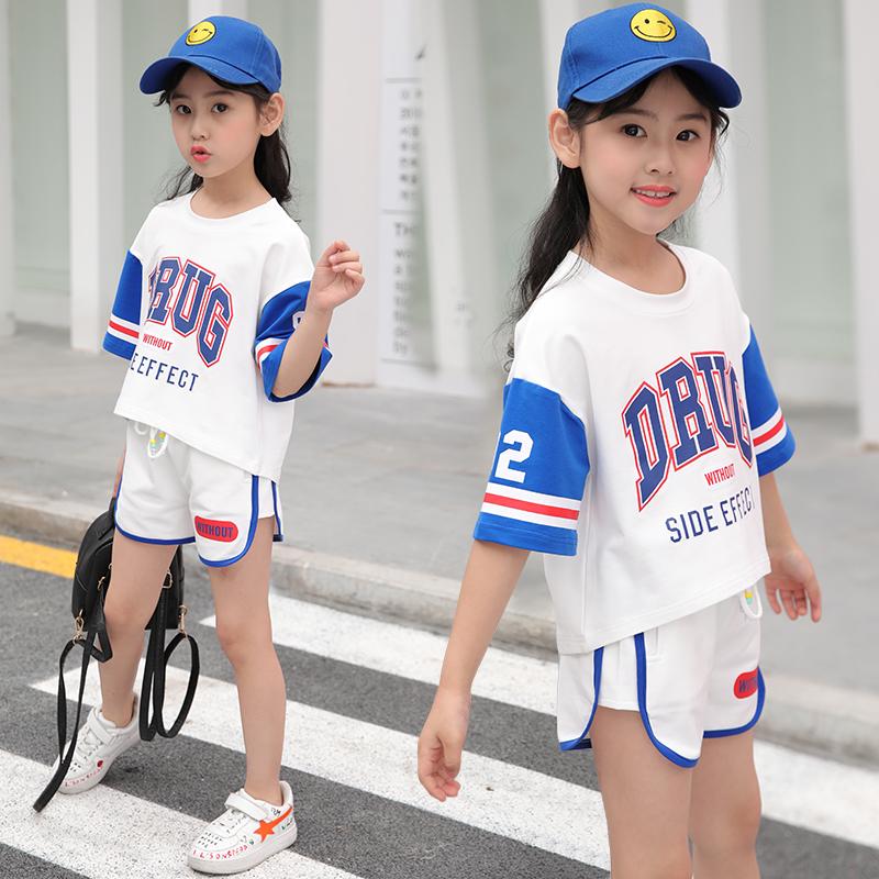 女童运动套装新款夏装中大童女宝宝洋气纯棉两件套时髦童装夏
