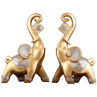 大象摆件一对工艺品中式乔迁新居开业礼品办公室客厅软装饰品 金色 财福象一对