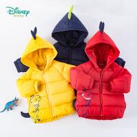 迪士尼Disney童装 抱抱龙卡通夹棉外套男童三层保暖上衣冬季新品连帽棉服194S1189