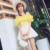 夏季女装韩版修身显瘦吊带衫一字领露肩荷叶边甜美雪纺衫上衣女 黄色