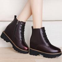 古奇天伦2017新款秋季马丁靴女英伦风短靴粗跟韩版百搭内增高女靴