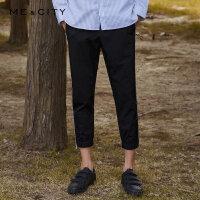 【1件2.5折到手价:106.3】MECITY男装侧缝拼织带休闲九分裤慢跑裤