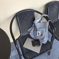 帆布包女斜挎单肩大包环保布袋购物袋格子文艺休闲韩国袋刺绣布贴 黑白小格子(胸针图案随机)