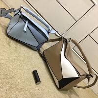 几何包拼接波士顿枕头包撞色手提包欧美时尚单肩斜跨包软皮女包SN0799 卡其小号 预售月底发货