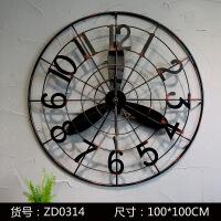 新品 美式工业风铁艺电风扇壁圆形挂钟复古壁饰创意家居墙面装饰钟表