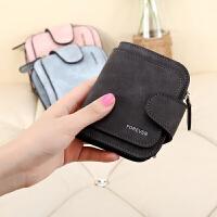 韩版女短款钱包 个性拉链学生钱夹女士零钱包卡包时尚皮夹子 黑色
