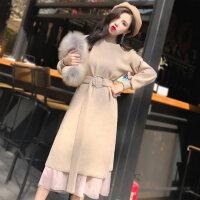 针织连衣裙秋冬季2018新款女装中长款内搭两件套毛衣长裙过膝宽松