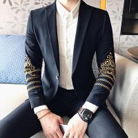 施衣品2017秋冬新款英伦男士绣花西服单扣西装可配套装A407/XZ100