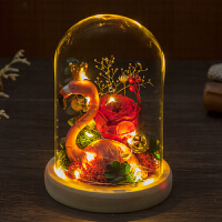 【优选】永生花礼盒玻璃罩摆件母情人节送女友生日礼物保鲜花玫瑰花干花