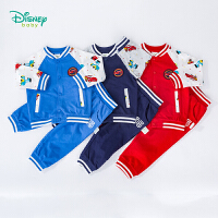【3折价:95.4】迪士尼Disney童装 男童纯棉运动套装撞色插肩袖汽车印花上衣简约休闲裤子2件套 193T973