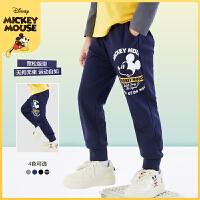 迪士尼男童长裤2021春装新款儿童宝宝洋气童装时尚卡通裤子潮