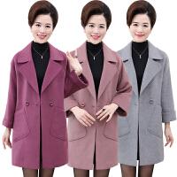 中年女装秋冬装40-50岁新款妈妈装中长款呢子大衣中老年毛呢外套