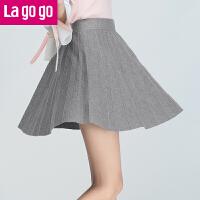 【清仓3折价59.7】Lagogo/拉谷谷2019年冬季新款时尚休闲百褶针织半裙