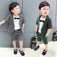 宝宝夏装套装男童 礼服 套装短袖儿童小西装棉麻演出服潮 90cm7码 赠送领结