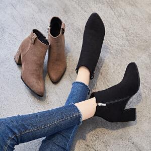 ZHR2018春秋季新款小短靴粗跟女靴子韩版踝靴百搭单靴短筒网红靴