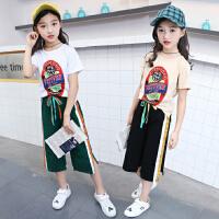 女童夏装新款洋气童装韩版儿童套装夏季中大童阔腿裤小孩衣服