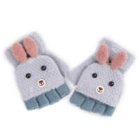 儿童手套女童秋冬新款毛线针织半指手女孩手套翻盖两用手套可爱冬 儿童款 新款双耳兔翻盖/淡紫