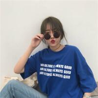 夏装新款字母t恤女短袖韩版宽松学生百搭韩范半袖体恤上衣服