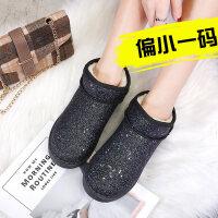 女士雪地靴冬季新款棉鞋靴加绒厚底一脚蹬韩版学生网红短靴潮