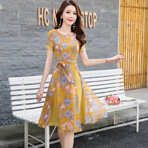 风轩衣度 2018年夏季短袖中长款拼接绑带高腰圆领花色连衣裙A型印花大摆型 2361-1601