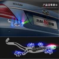 汽车太阳能壁虎警示灯 3D立体* LED爆闪车贴 警示灯防追尾灯 银色