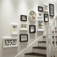 简约创意楼梯照片墙 楼道复合实木相框挂墙组合画框相片墙