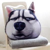 狗狗头汽车二哈士奇枕头抱枕被子两用女靠垫靠枕毯男搞怪网红滑稽