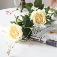 家居单支仿真玫瑰花束落地塑料花假花客厅装饰花绢花餐桌茶几摆件花艺