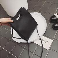 女包日韩版时尚简约小方包女学生手提包单肩包斜挎小包包 黑色