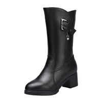 羊毛靴女冬季新款真皮保暖加绒女靴中跟中筒靴粗跟加厚毛毛鞋真皮 5792黑色 标准尺码