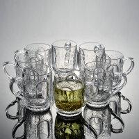 家用刻花玻璃水杯套装透明耐热泡茶杯喝水杯子加厚果汁杯创意杯具