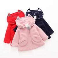 女童毛呢外套秋冬装新款童装儿童宝宝海军风加厚加棉呢子大衣