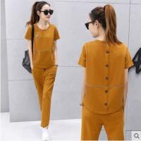 时尚新款运动套装 女装韩版休闲两件套时尚潮跑步服长裤短袖