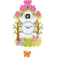 布谷鸟咕咕智能客厅实木挂钟创意田园摇摆钟表卡通儿童小鸟报时钟 其他