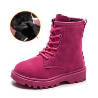 儿童靴子秋冬季新款童鞋小女孩短靴女童中大童加绒棉靴宝宝马丁靴